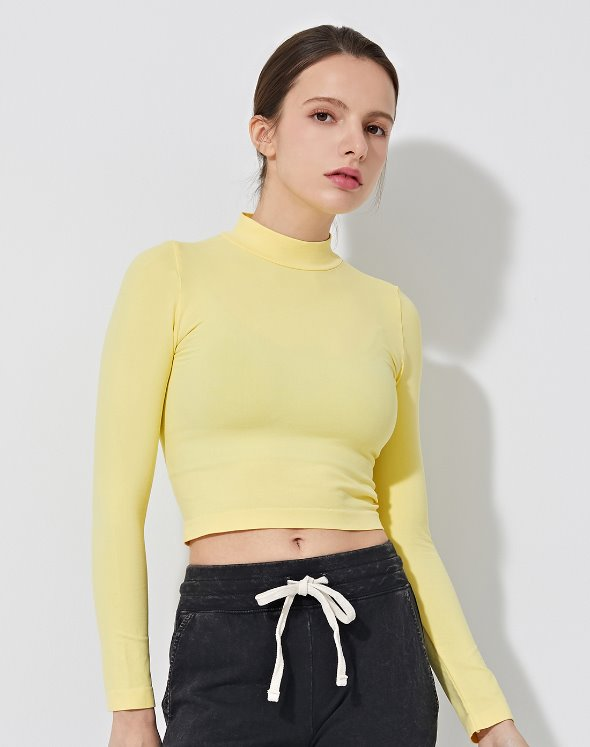 Mock Neck Crop Top (VK2TS437/LY)