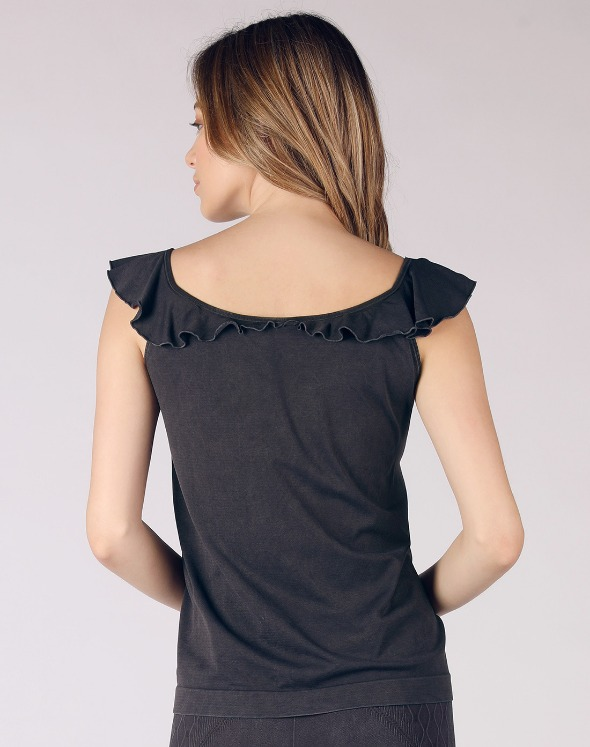 2-way Frill Collar Sleeveless Top(VJ2TS026/BK)