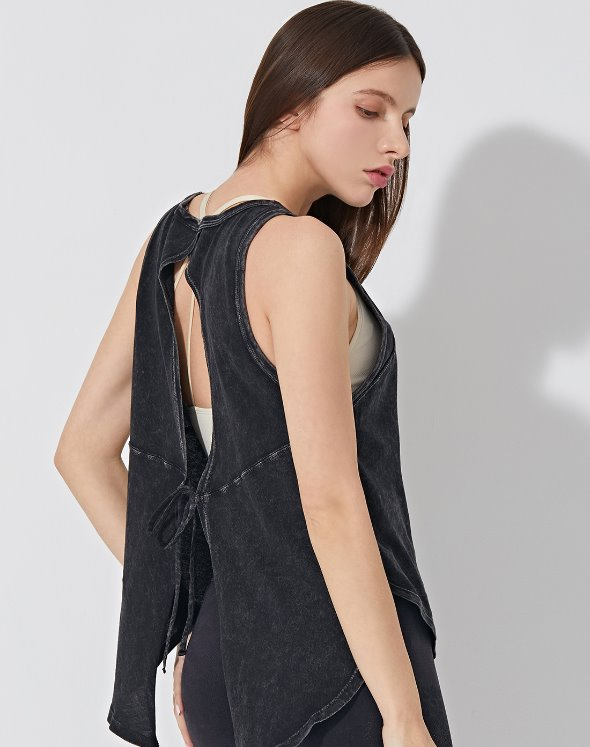 Back Tie Tank Top (VK2LF062/BK)