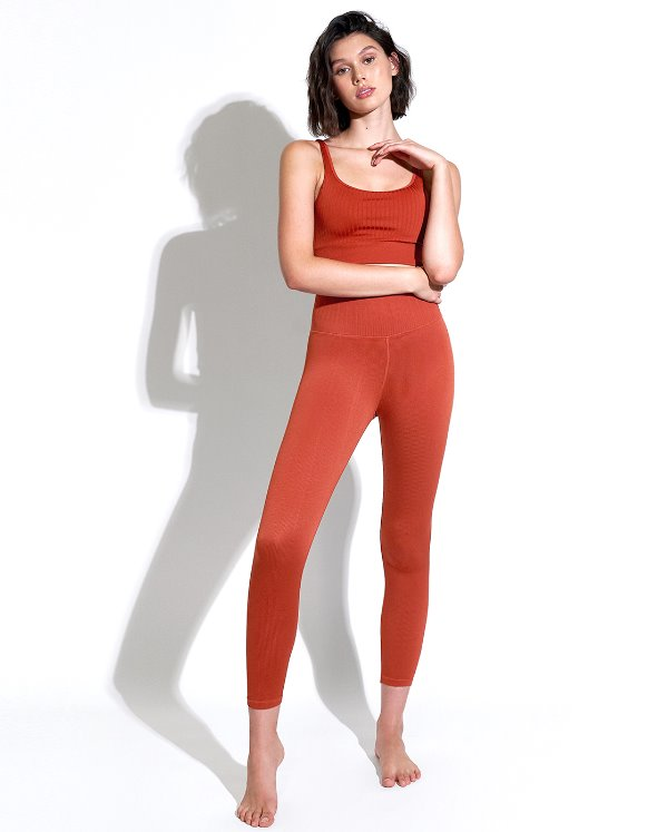 Selina Shiny Rib V Back 7/8 Leggings (VK4BO885/RS)